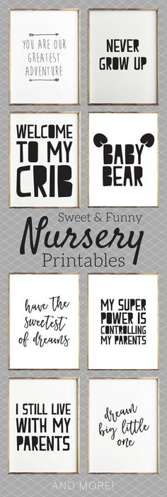Funny and sweet printable art for a nursery baby's room. #printable #nurserydecor #ad #nursery