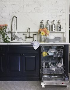 black cabinetry + marble