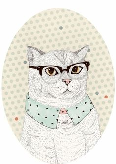 Cat with glasses illustration
