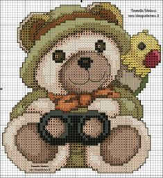 THUN SCHEMI PUNTO CROCE Cross Stitch Bookmarks, Cute Cross Stitch, Cross Stitch Patterns, Cushion Source, Minnie Baby, Crotchet Patterns, Crochet Baby, Needlework, Teddy Bear