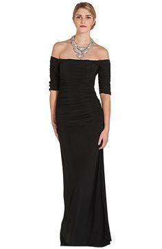 BADGLEY MISCHKA - Off-Shoulder Ruched Evening Gown at www.myuniversalcloset.com #designerdress, #ballgown, #gown, #dress, #myuniversalcloset, #party #luxury, #gala