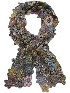 Designed in Paris and handmade in Madagascar. Sophies new Polly scarf is crocheted of hundreds of gorgeous flowers. Each flower is one of a kind