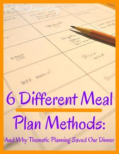 6 Different Meal Plan Methods