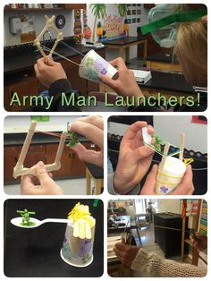 Army Man Launchers: one cup, one army man, one spoon, six popsicle sticks, two rubber bands two feet of tape & two feet of string