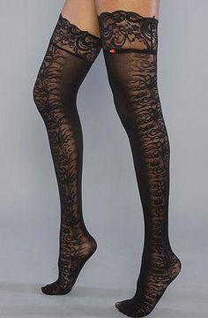 Music Legs 7810 Sheer Thigh High Stockings With Garter Belt