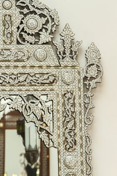 19th Century Palatial Middle Eastern Syrian White Inlay Mirror | From a unique collection of antique and modern wall mirrors at https://www.1stdibs.com/furniture/mirrors/wall-mirrors/
