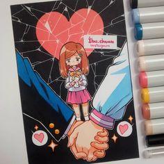Últimamente he leído muchas historias de amor tristes y algo crueles. Y bueno, no pude evitar sentir empatia por los personajes y plasmarlo en este dibujo, por que si, a todos nos ha pasado, ya sea que te lo rompan o que tu los rompas. Las dejaría de leer pero quiero ver como le llega su merecido al desgraciado que hace sufrir a mi pequeño ;m;)9 #love #romantic #boyandgirl #kawaii #moe #cute #chibi #semichibi #corazonroto #brakinghearts #copicmarker #pentel #unipinfineline