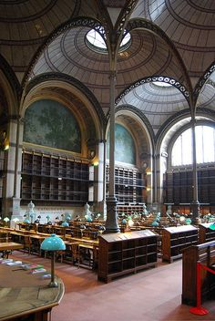 salle labrouste, a reading room in the bibliothèque nationale de france built between 1862 and 1868 World Library, Library Room, Dream Library, Amazing Architecture, Architecture Details, Home Libraries, Public Libraries, Beautiful Library, France Travel