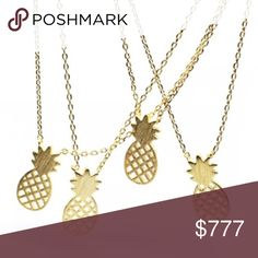 "🍍⭐️ 16K Gold Pineapple Necklace How ADORABLE is this trendy pineapple necklace? Perfectly dainty to layer or wear all by itself. 🍍  This necklace is NEW with tags, 16K gold plated, hypoallergenic {lead and nickel free}, and is on a 16"" chain.   No trades- but feel free to make an offer! 💋 Xo Wila Jewelry Necklaces"