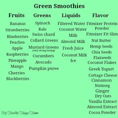 Green Smoothies: Pick an item or two from each list and whip it good. :-) #healthy #vegan #smoothies