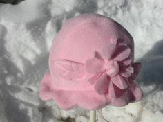 Child's Pink Polar Fleece Hat with Flower