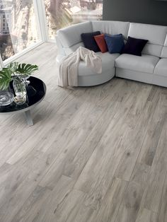 Powder - Natural porcelain tile from our Essenza, Wood Effect Tiles Tile Collection Living Room White, White Rooms, Living Room Modern, Grey Wood Floors, Wood Tile Floors, Grey Flooring, Wood Grain Tile, Ceramic Flooring, Plywood Floors
