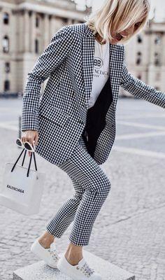 564ebad7c63 Viktoria Rader wearing Cropped Gingham Twill Pants by Tibi Winter Fashion  Street Style