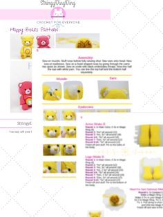 Get the PDF to the adorable Happy Bears crochet pattern. The PDF is 9 pages and includes helpful images. Try this easy crochet pattern now! Crochet Teddy Bear Pattern, Crochet Dolls Free Patterns, Free Crochet, Crochet Cats, Crochet Appliques, Crochet Birds, Crochet Animals, Stuffed Animal Patterns, Stuffed Animals