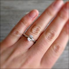 White Sapphire Twig Ring, Oval Cut in 14k White Gold