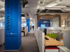 Best cubicles with cool blue column :-) #cubicles