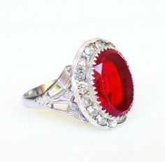 Vintage Ring Art Deco Style Red Glass Diamante Rhinestone Silver Cocktail Jewelry
