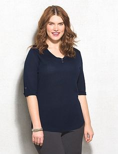 Plus Size Tab-Sleeve Sweater Henley