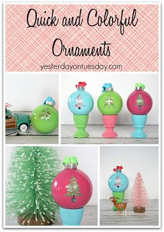 Quick and Colorful Ornaments in Retro Brights | Yesterday on Tuesday #decoartprojects