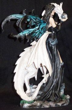 Dragon And Fairy Figurines | Dark Fairy with White Dragon Crystal Statue Figurine | eBay