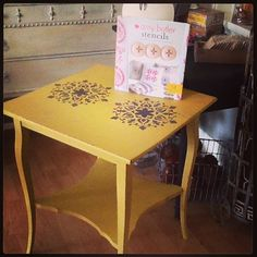 Vintage oak table reloved in Mustard Seed Yellow, hemp oil rubbed and embellished with stencil from Amy Butler Stencils book