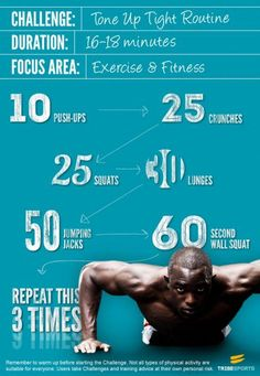 "Daily workout for anyone. It only takes 16-18 minutes.  I pinned this from someone who titled it ""Daily workout for me"".  Hello, I can do all of this. #mensfitness"