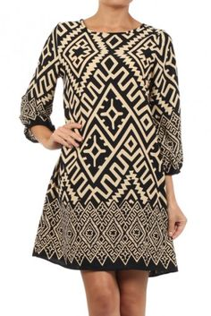 Tribal printed round neck 3/4ths sleeve A-line shift dress.