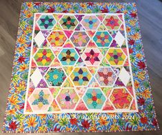 18 blocks made using English Paper Piecing (handwork). Then appliquéd each block to a white hexagon. No y-seams! English Paper Piecing, Large White, Vintage Patterns, Some Fun, Bouquet, Quilts, Stars, Fabric, Projects