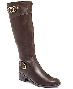 Brown, wide calf, knee high boot with gold accents