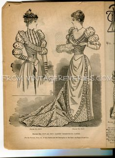 #1890s ceremonious gowns #fashion plate from the January 1892 Delineator magazine of Fashion, Fine Arts, and Culture.
