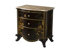 Shop+for+Theodore+Alexander+Wuxi+Nightstand,+6002-205,+and+other+Bedroom+Nightstands+at+John-William+Interiors+in+San+Antonio+and+Austin,+TX.+A+finely+carved+mahogany+and+burl+veneered+nightstand,+with+Chocolate+Chinoiserie+landscape+painted+decoration,+the+serpentine+marble+top+above+a+brushing+slide+and+three+graduated+drawers+on+a+shaped+base+with+scroll+carved+legs.