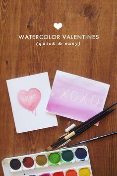 DIY: Quick & Easy Watercolor Valentines