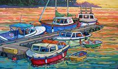 Artwork by artist Greta Guzek, represented by the West End Gallery. Canadian Painters, Canadian Artists, Boat Painting, Beach Paintings, Boat Art, Painter Artist, Kids Artwork, Art Moderne, Art Plastique