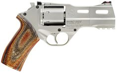 Chiappa Rhino, under barrel revolver, so it fires from the bottom chamber instead of the top. this minimizes barrel flip and pushes recoil straight back into the hand. Plus it was in the new total recall so... that's awesome!