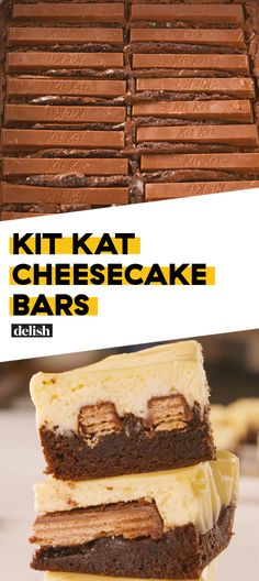KitKat lovers, we made these cheesecake bars for YOU. Get the recipe at Delish.com. #recipe #easy #easyrecipe #candy #chocolate #cheese #cake #cheesecake #dessert #dessertrecipes