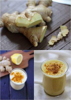 turmeric lassi 1 cup plain kefir or plain yogurt 1 frozen banana 2 teaspoons fresh ginger, grated Juice of ½ a lemon 1 teaspoon ground turmeric 1 household teaspoon honey