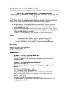 sample teacher resumes substitute teacher resume - Sample Teaching Resumes