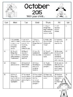 Use This Monthly Calendar For Homework For Your Tk Students Send