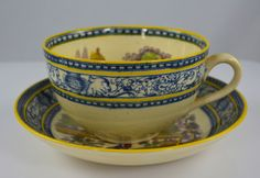 Vintage Two Color English Transferware Adams Tea Cup & Saucer Blue Purple Yellow Deer & Lake Scenery