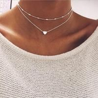 """Wrapped in Love"" Silver or Gold Love Heart Double Chain Choker Necklace"
