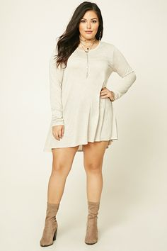 Forever 21+ - A heathered knit dress featuring a trapeze silhouette, a round neckline, and long sleeves.