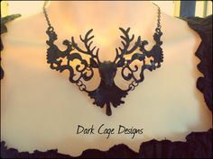 Charming Victorian Gothic Black Filigree Deer by DarkCageDesigns, $25.00