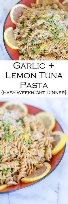 Tuna Dinner Recipe - Garlic Lemon Pasta