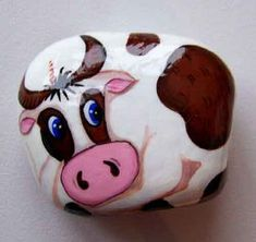 """ru / Triss - Album """"Cows and Bulls"""" Cow Painting, Pebble Painting, Pebble Art, Stone Painting, Painted Rock Animals, Painted Rocks Craft, Hand Painted Rocks, Painted Stones, Stone Crafts"""