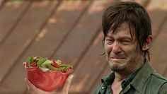 "These three pictures of Daryl laughing alone with salad: | 46 Things You'll Only Find Funny If You Watch ""The Walking Dead"""