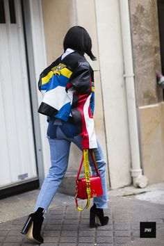Streetstyle of Tiffany Hsu fashion director at MyTheresa wearing Off-White and Vêtements denim jeans during Paris Fashion Week Spring Summer 2017