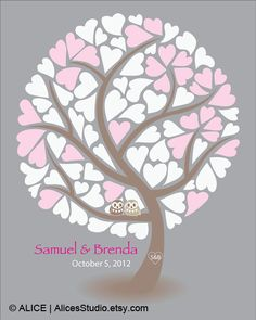 Guest Book Ideas for Wedding - Wedding Guest Book Tree Alternative Poster, Love Birds, Personalized Guestbook, Love Birds