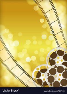 Cinema golden background vector image on VectorStock Pink Glitter Background, Golden Background, Instagram Background, Background Design Vector, Retro Camera, Scrapbook Layout Sketches, Film Strip, Borders And Frames, Harry Potter Art