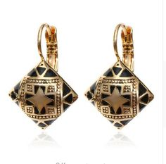Hot New Fashion Vintage Enamel Geometric Square Drop Earring Silver Gold Plated Carving Flower Ethnic Ear Jewelry For Women