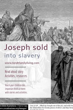 The story of Joseph getting sold into slavery for children and families, including read aloud story and suggested activities. Bible Resources, Bible Activities, Book Of Genesis, Bible Illustrations, Religious Studies, Free Bible, The Brethren, Good Wife, Guy Names